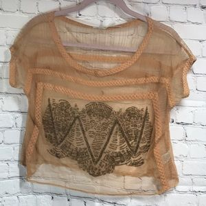 Kimchi Blue rose gold sheer top with bronze bead